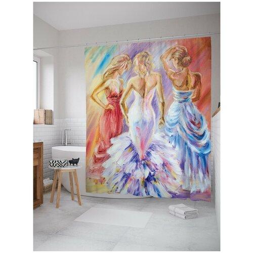 Штора для ванной JoyArty Трио в прекрасных платьях 180х200 (sc-15125)