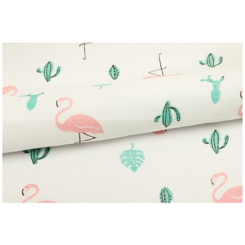 Ткань PePPY Фламинго (марлевка) фасовка 100 x 125 см 105 г/кв.м фламинго недорого