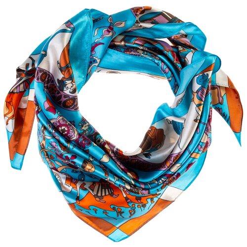 Шелковый платок на шею/Платок шелковый на голову/женский/Шейный шелковый платок/стильный/модный /21kdgPL903001-2vr голубой,сиреневый/Vittorio Richi/80% шелк,20% полиэстер/90x90