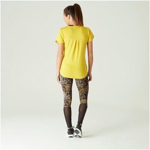 Леггинсы д/фитнеса хлопковые эластич. с высокой талией и сеткой желтые с принтом, размер: M / W30 L31, цвет: Желтый NYAMBA Х Декатлон