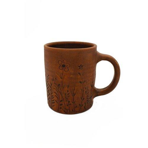 чашка глиняная малиновый щербет 350 мл Кружка/чашка для чая, чашка с декором Лагвица цветы. Глиняная посуда 350 мл