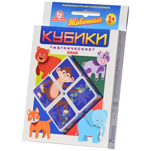 Купить Кубики-пазлы Эники беники Магнические кубики Животные, Детские кубики