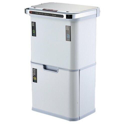 Ведро для раздельного сбора мусора, сенсор, 4 емкости, Foodatlas, JAH-8889, 50л (12+12+13+13) белый ведро для мусора держатель б полотенец foodatlas jah 543 6л белый