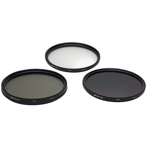 Фото - Набор из 3 фильтров RayLab (UV,CPL,ND8) 72mm фильтр поляризационный raylab cpl 82mm