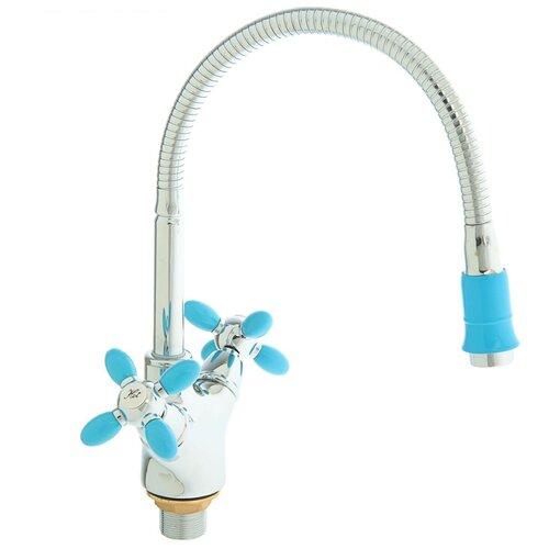 Смеситель для кухни (мойки) Accoona H82 A4882 color синий/хром смеситель для кухни мойки accoona h82 a4882 color черный хром