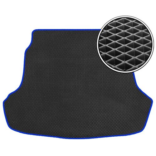 Автомобильный коврик в багажник ЕВА BMW X7 2019- наст.время (багажник) со сложенным 3м рядом (темно-синий кант) ViceCar
