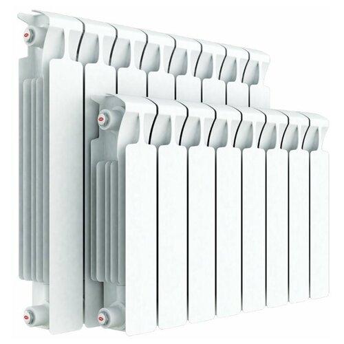 Радиатор секционный биметаллический Rifar Monolit 500 x8 теплоотдача 1568 Вт, подключение универсальное боковое RAL 9016 биметаллический радиатор rifar rifar monolit 500 12 секц