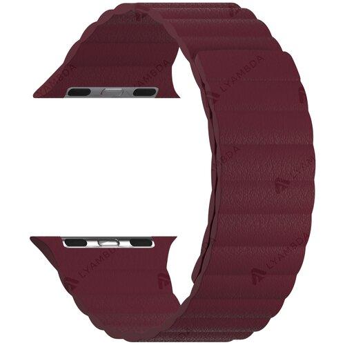Кожаный ремешок для Apple Watch 38/40 mm LYAMBDA POLLUX DSP-24-40-WR Wine red ремешок lyambda pollux для apple watch 38 40 mm dsp 24 40 bk черный