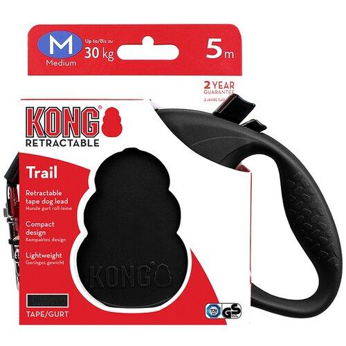 Поводок-рулетка для собак KONG Trail M черный 5 м 12 мм рулетка для собак kong reflect m до 30 кг 5 м серый