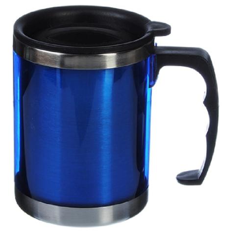Термос-кружка вакуумная из нержавеющей стали 400мл (Синяя)