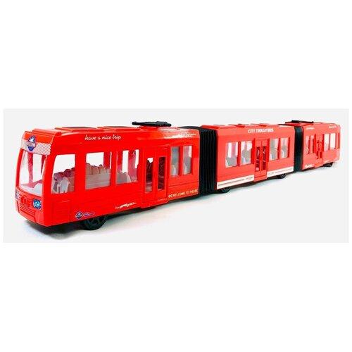 Купить Большой трамвай трёхсоставный 75 см. инерционный, KX905-8, 75х9х7 см, Play Smart, Машинки и техника