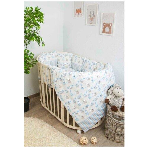 Купить Сонный Гномик комплект в круглую кроватку Софушки (6 предметов) голубой, Постельное белье и комплекты