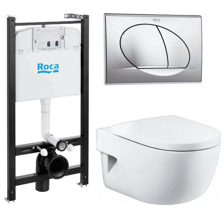 Унитаз с инсталляцией подвесной Roca Meridian 893104110 с горизонтальным выпуском