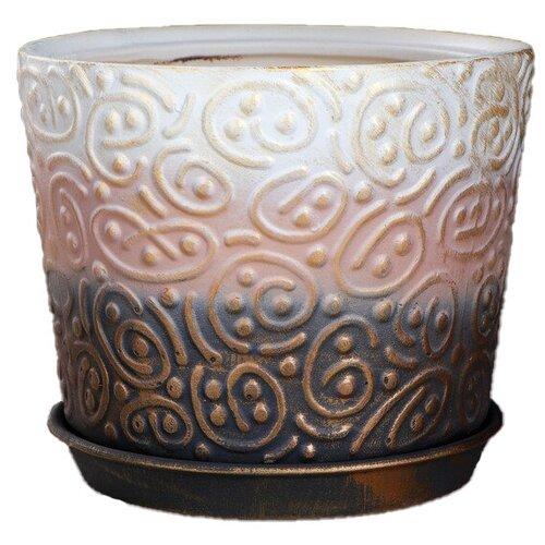 Горшок Керамика ручной работы с поддоном Серпантин 21.5 х 19 см разноцветный