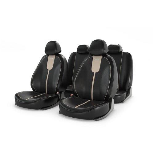 Универсальные чехлы на автомобильные сиденья CarFashion GALS бежевый/черный/бежевый