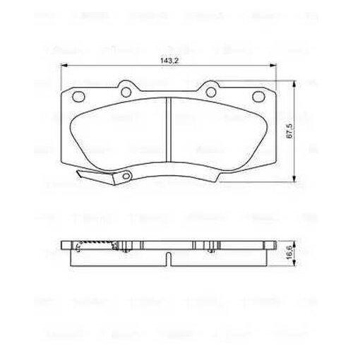 Комплект тормозных колодок Bosch 0 986 495 302 для Toyota Hilux VII