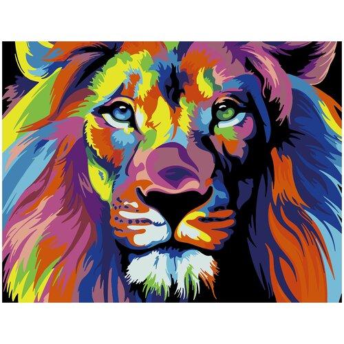 Купить Картина по номерам Радужный Лев, 70 х 100 см, Красиво Красим, Картины по номерам и контурам