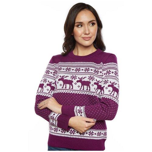 Шерстяной свитер, классический скандинавский орнамент с Оленями и снежинками, натуральная шерсть, фиолетовый цвет, размер M
