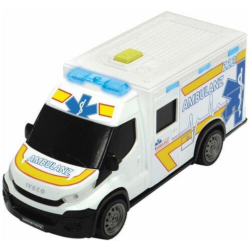 трансформер трейлер dickie optimusprime свет звук Dickie Toys машинка скорой помощи Iveco Daily с носилками, 18 см, свет, звук, 3713012