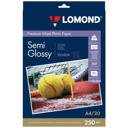 250 г/м2, A4, Semi Glossy Warm Premium фотобумага, 20 листов Lomond 1103304