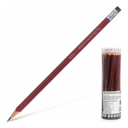 Карандаш чернографитный (простой) Koh-I-Noor 1803 (НВ, корпус коричневый, трехгранный, с ластиком, заточенный) 36шт. (18030НВ001TD)