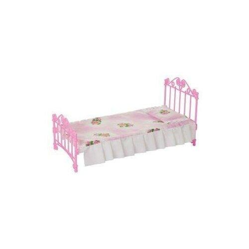 Кроватка розовая с постельным бельем Огонек С-1427