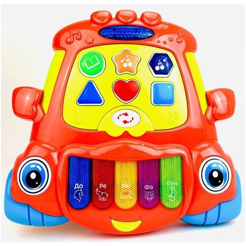 Развивающая интерактивная детская игрушка пианино-машинка