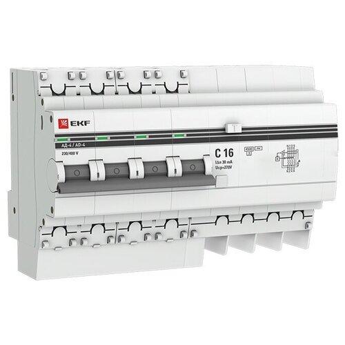 Фото - Дифференциальный автомат EKF АД-4 4П 30 мА C 4.5 кА AC электронный 16 А дифференциальный автомат ekf ад 4 4п 30 ма c 4 5 ка ac электронный 40 а