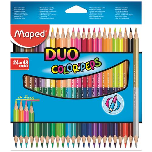 Фото - Maped Цветные карандаши двусторонние Color Peps Duo 48 цветов 24 штуки (829602) карандаши набор 18цв аквар maped color peps aqua кисть