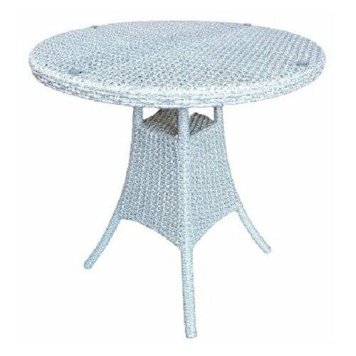 Стол Кипр круглый кофейный, плетеный из искусственного ротанга, белое дерево