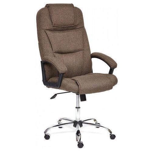 Компьютерное кресло TetChair Бергамо (крестовина хром, обивка ткань) для руководителя, обивка: текстиль, цвет: коричневый,3М7-147