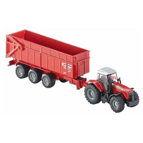 Фото - Трактор Siku Massey Ferguson с прицепом (1844) 1:87, 18 см, красный набор машин siku тягач с яхтой 1849 1 87 27 см красный белый