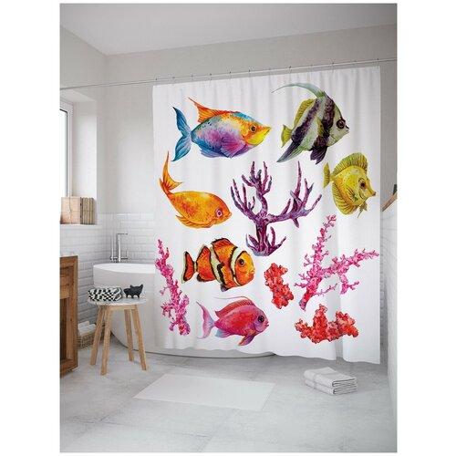 Фото - Штора для ванной JoyArty Рыбы в кораллах 180х200 (sc-14607) штора для ванной joyarty солдаты в бою 180х200 sc 19581