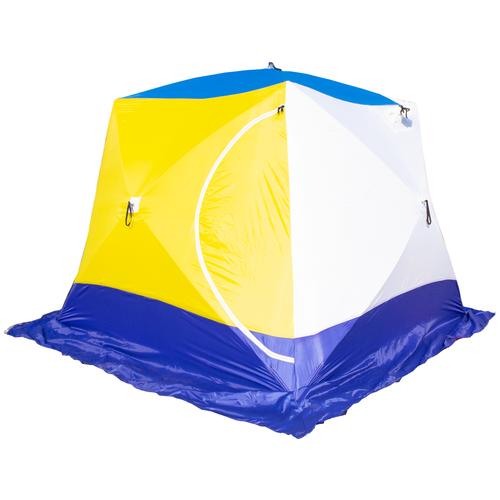 Фото - Палатка СТЭК КУБ 4 (трехслойная) синий/желтый палатка jian hong замок принца 200280835 синий желтый