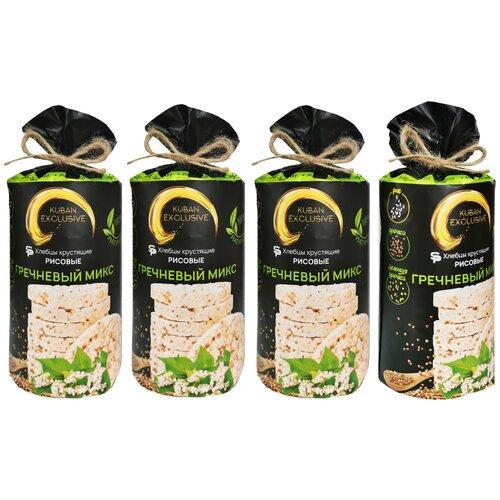 Хлебцы рисовые Гречневый микс 4 шт по 100г | KUBAN EXCLUSIVE | гречка, зеленая гречка, рис