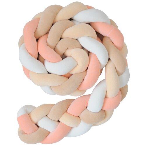 Купить Бортик для детской кровати Коса , Childrens-Textiles, хлопковый велюр, 2.3 м, цвет - корал, абрикос, песок, молочный, Childrens Textiles, Постельное белье и комплекты