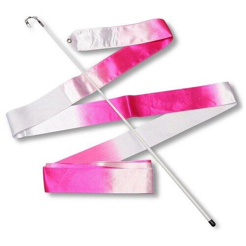 Палочка с лентой для художественной гимнастики Indigo АВ236-14 белый/розовый недорого