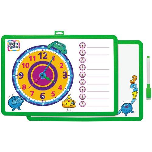 Доска для рисования детская Kribly Boo с часами и маркером зеленый