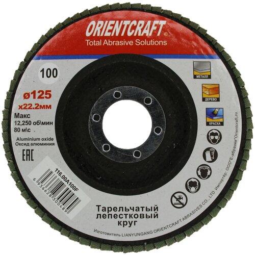 Круг лепестковый торцевой (КЛТ-1) 125x22мм P100 Orientcraft для металла, древесины