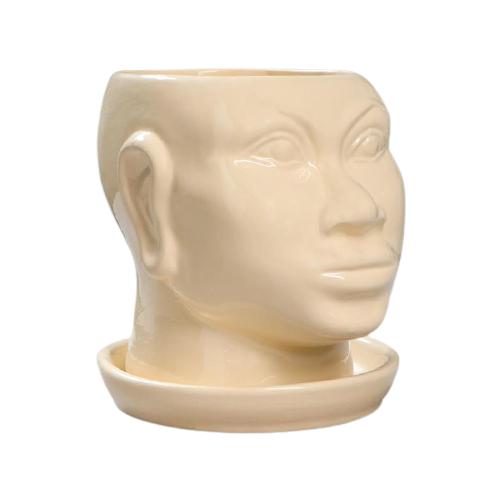 Горшок Керамика ручной работы Голова африканки глазурь 17 х 15 х 17 бежевый по цене 574