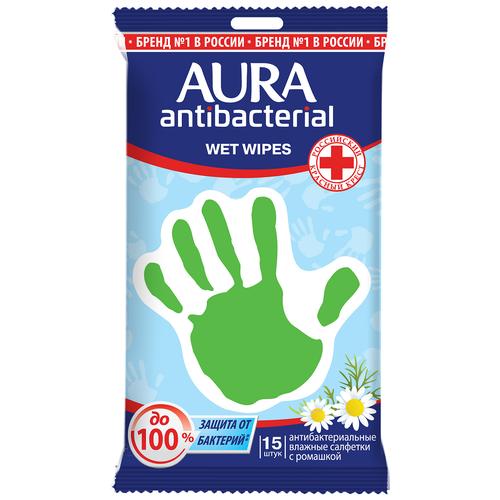 Фото - Влажные салфетки Aura антибактериальные с ромашкой, 15 шт. салфетки влажные aura антибактериальные 20 шт