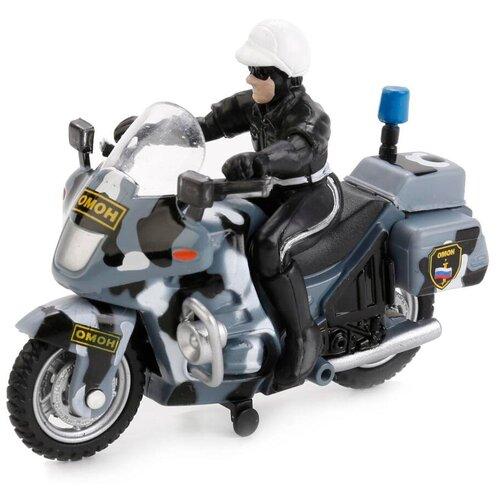 Мотоцикл ТЕХНОПАРК ОМОН с фигуркой (CT-1247-7) 1:35, 17 см, серый/черный