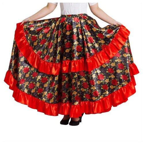 Купить Цыганская юбка для девочки Страна Карнавалия с двойной красной оборкой, длина 67 (рост 122-128) (2465723), Карнавальные костюмы