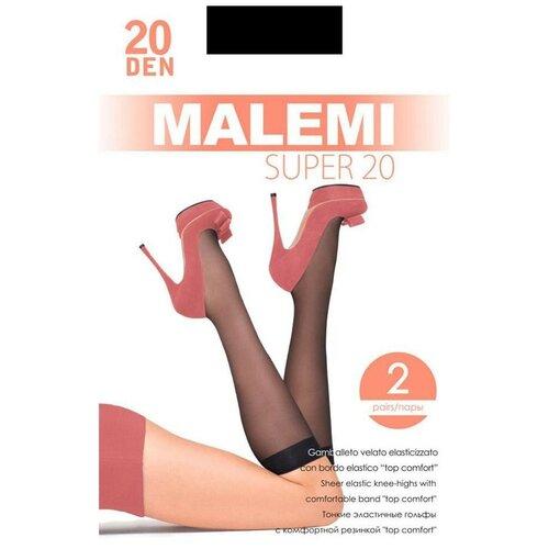 Капроновые гольфы Malemi Super 20, 2 пары, размер ONE SIZE, nero