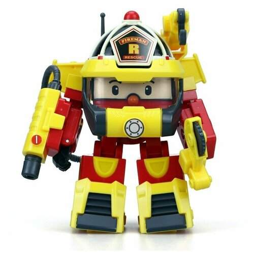 Купить Трансформер Silverlit Robocar Poli Рой 10 см с костюмом супер-пожарного желтый/красный, Роботы и трансформеры
