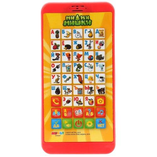Интерактивная развивающая игрушка Умка Обучающий телефон Ми-ми-мишки. Азбука в стихах, красный/желтый