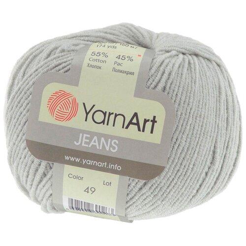Пряжа YarnArt 'Jeans' 50гр 160м (55% хлопок, 45% полиакрил) (49 светло-серый), 10 мотков пряжа yarnart пряжа yarnart jeans plus цвет 53 черный