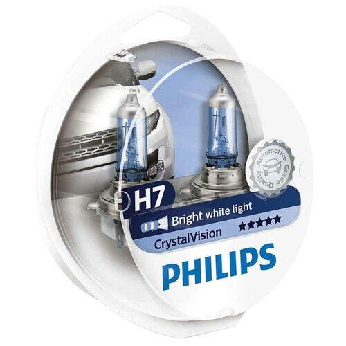 Лампа автомобильная галогенная Philips Crystal Vision 12972CVSM H7 12V 55W + W5W 2 шт. автомобильная лампа h7 55w white vision 2шт w5w 2шт philips