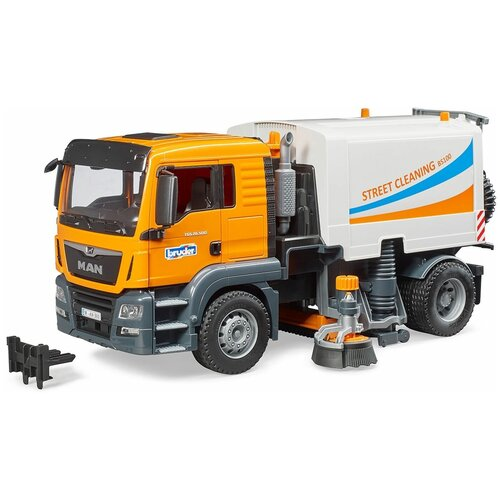 Уборочный грузовик Bruder MAN TGS (03-780) 1:16, 47 см, оранжевый/белый
