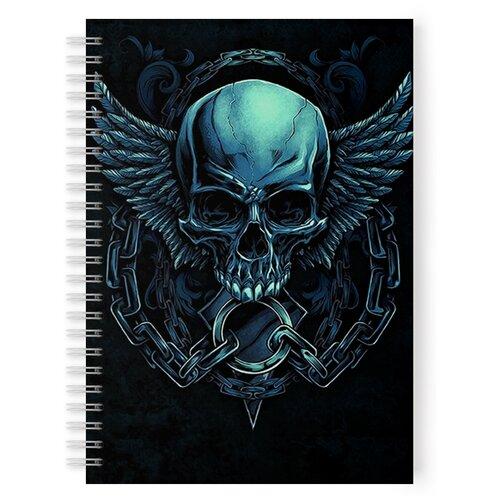 Купить Тетрадь 48 листов в клетку с рисунком Синий череп, Drabs, Тетради